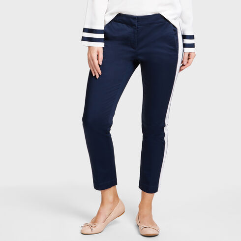 Cropped Slim Fit Trousers With Side Inset - Deep Sea