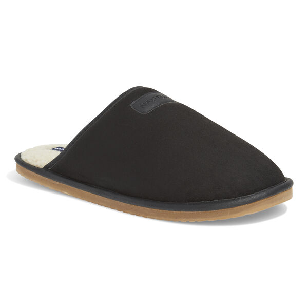 MICROSUEDE FAUX FUR LINED SLIPPERS - True Black