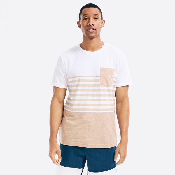 SUSTAINABLY CRAFTED COLORBLOCK-STRIPE POCKET T-SHIRT - Bright White