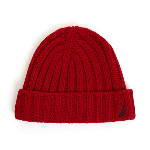 Ribbed Cuff Knit Beanie - Nautica Red/Orange