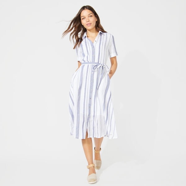 BELT-ACCENTED STRIPED SHIRT DRESS - Bright White