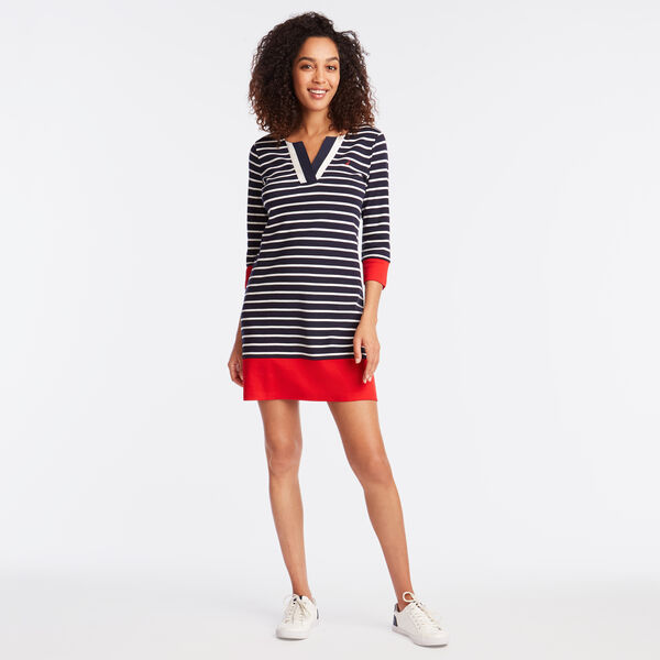 LONG SLEEVE STRIPE KNIT DRESS - Deep Sea