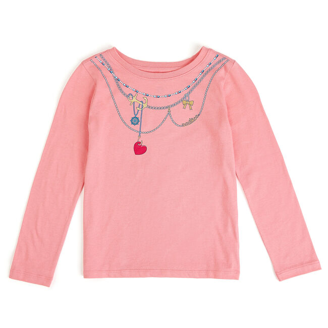 Girls' Necklace Graphic Long Sleeve Tee (7-16),Tabasco,large