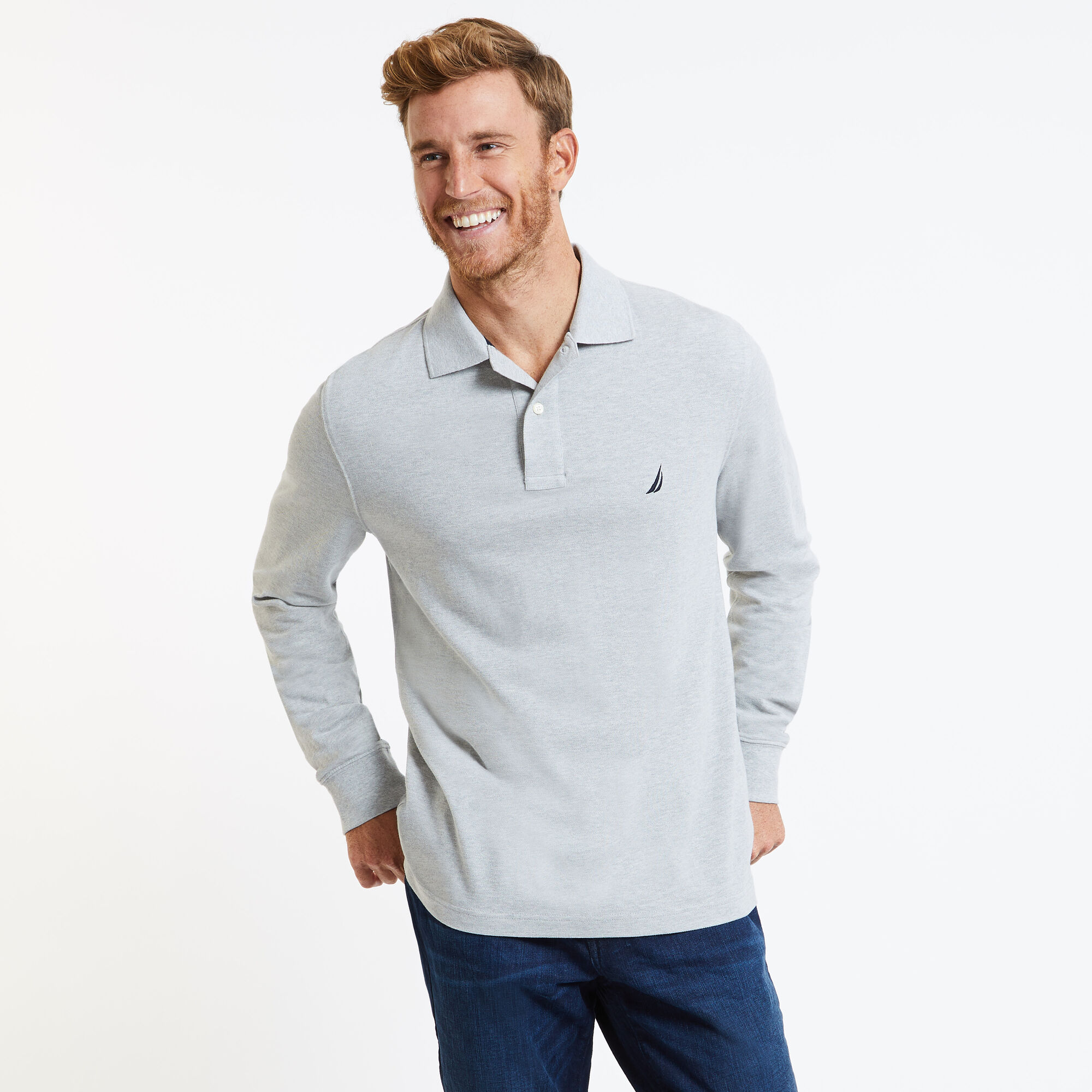 Long Sleeve Solid Classic Fit Pique Polo Nautica