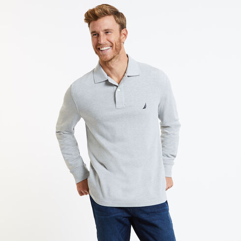 Long Sleeve Solid Classic Fit Pique Polo - Grey Heather