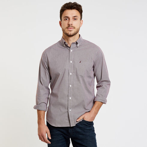 Classic Fit Poplin Shirt in Micro Gingham - Nantucket Red