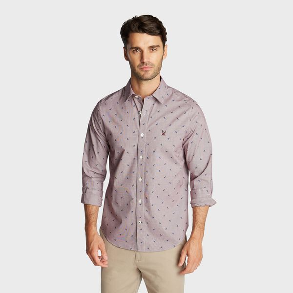 CLASSIC FIT WRINKLE-RESISTANT SAILBOAT PRINT SHIRT - Zinfandel