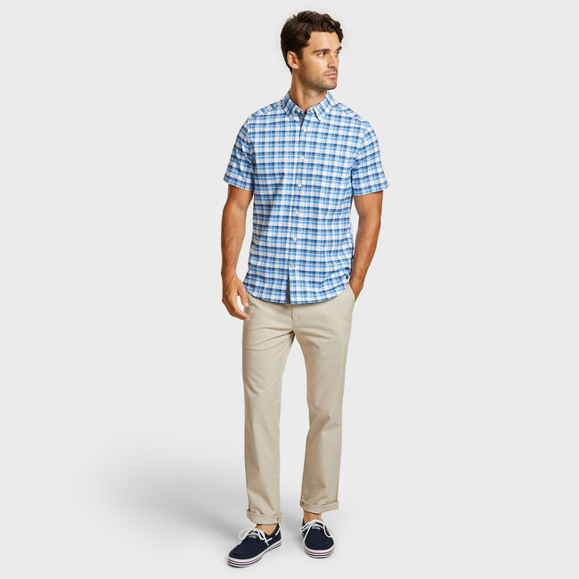 Short Sleeve Oxford Plaid Classic Fit Shirt,Aquasplash,large