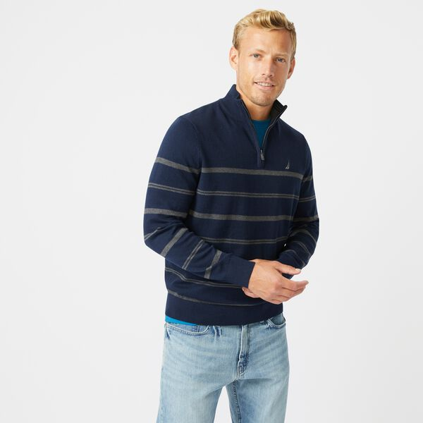 NAVTECH STRIPED QUARTER-ZIP SWEATER - Navy