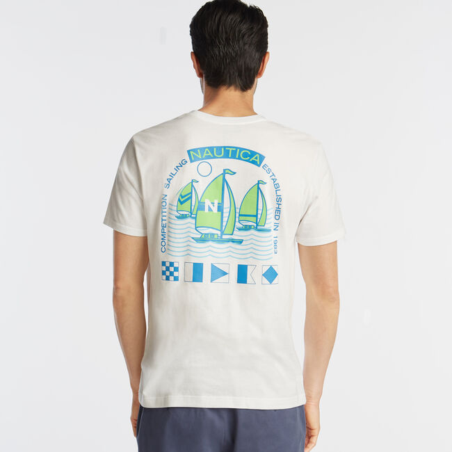 COMPETITION SAILING GRAPHIC T-SHIRT,Bright White,large