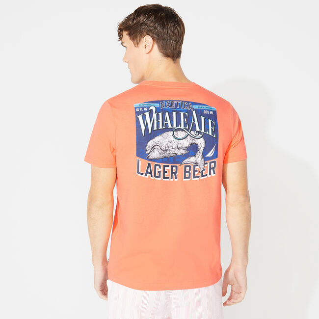SHORT SLEEVE WHALE ALE PRINT T-SHIRT,Livng Coral,large