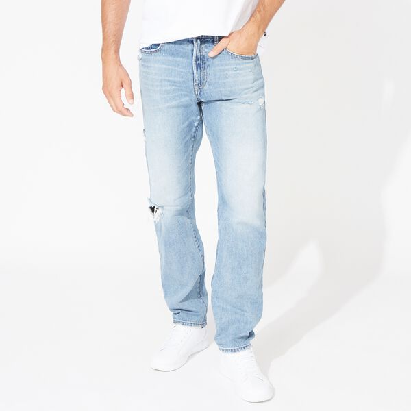 NAUTICA JEANS CO. RELAXED FIT DISTRESSED DENIM - Distressed Blue Wash