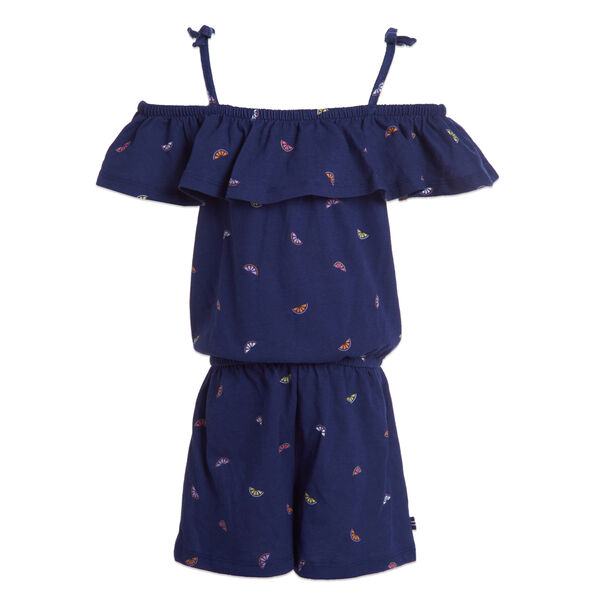 TODDLER GIRLS' FRUIT PRINT COLD SHOULDER KNIT ROMPER (2T-4T) - Aqua Isle