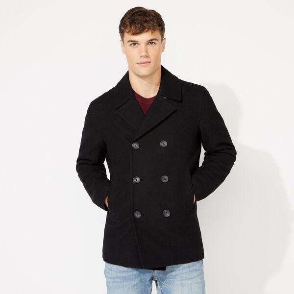 BIG & TALL WATER REPELLENT PEACOAT - Black