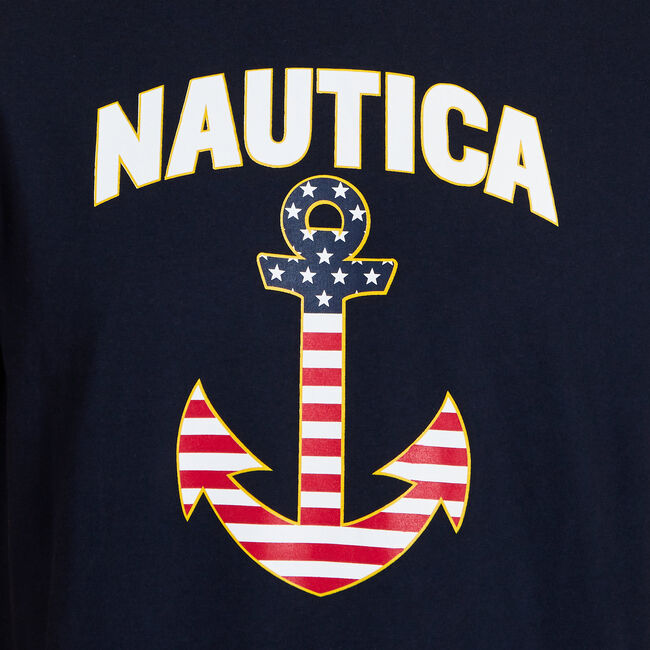Americana Signature Crewneck T-Shirt,Navy,large