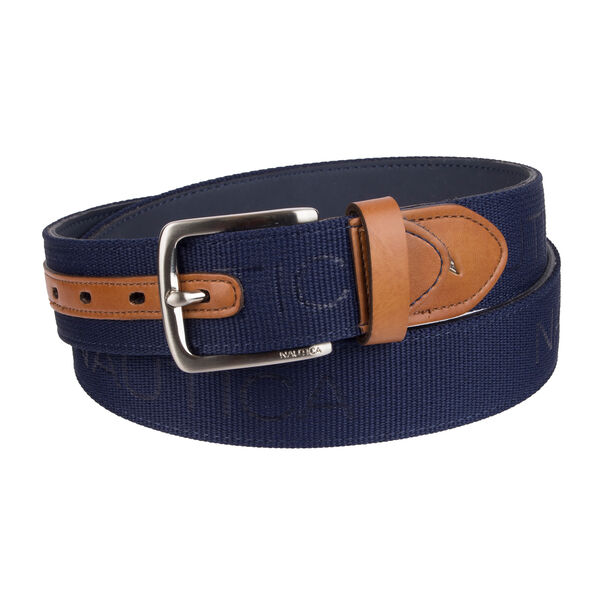LOGO EMBOSSED BELT - Navy