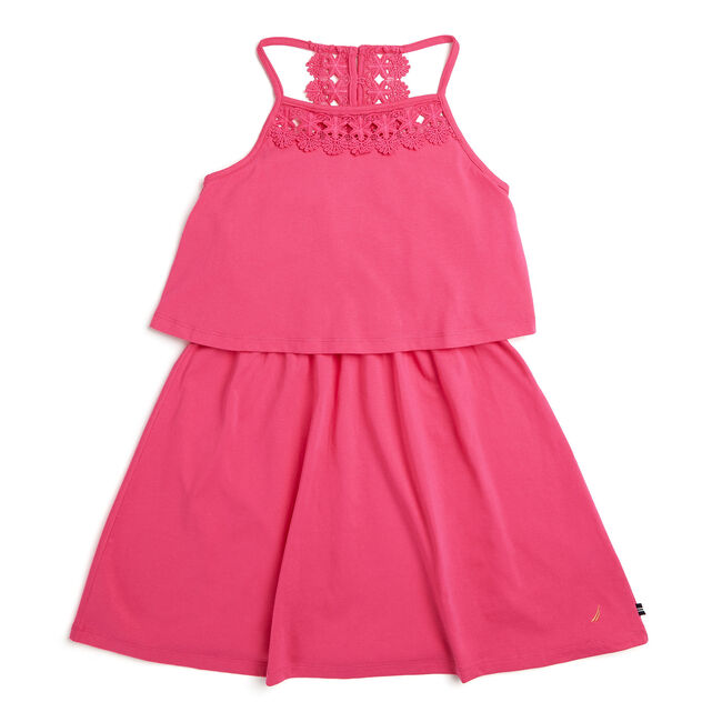 Toddler Girls' Jersey Dress With Crochet Trim (2T-4T),Rockaway Red,large