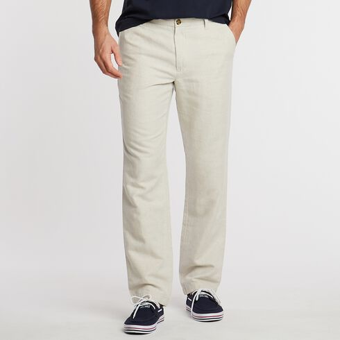 Flat Front Classic Fit Linen-Blend Pants - Wheat Flax