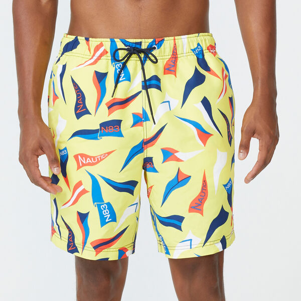 "8"" FLAG PRINT SWIM - Blazing Yellow"