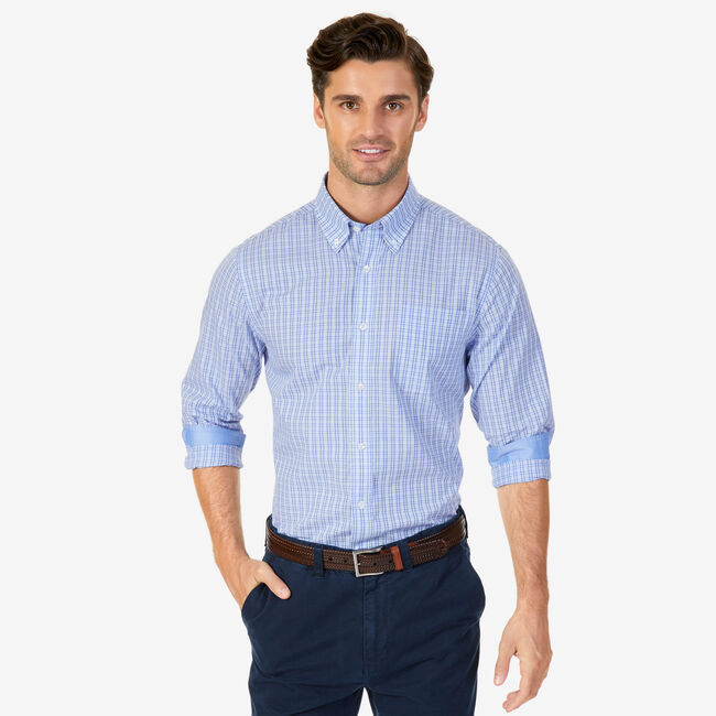 Plaid Wrinkle-Resistant Classic Fit Long Sleeve Shirt,Nautica Blue,large