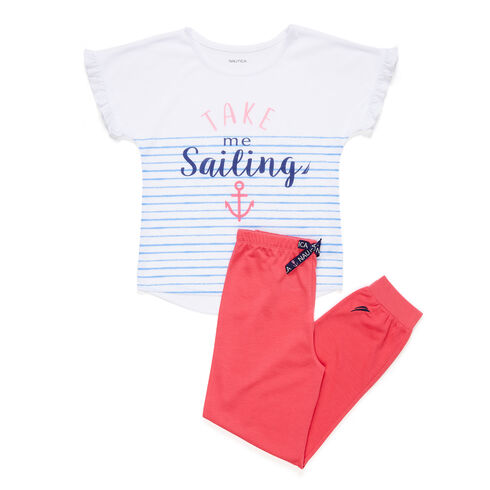 Girls' Take Me Sailing PJ Pants Set (XS-XL)  - Nautica Red/Orange
