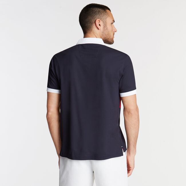 Classic Fit Colorblock Performance Polo,Navy,large