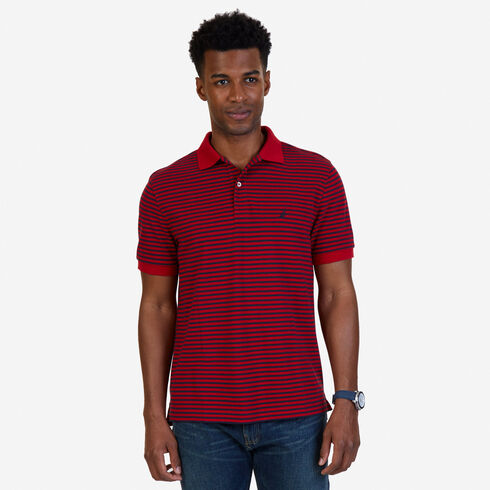 Short Sleeve Classic Fit Striped Polo - Nautica Red