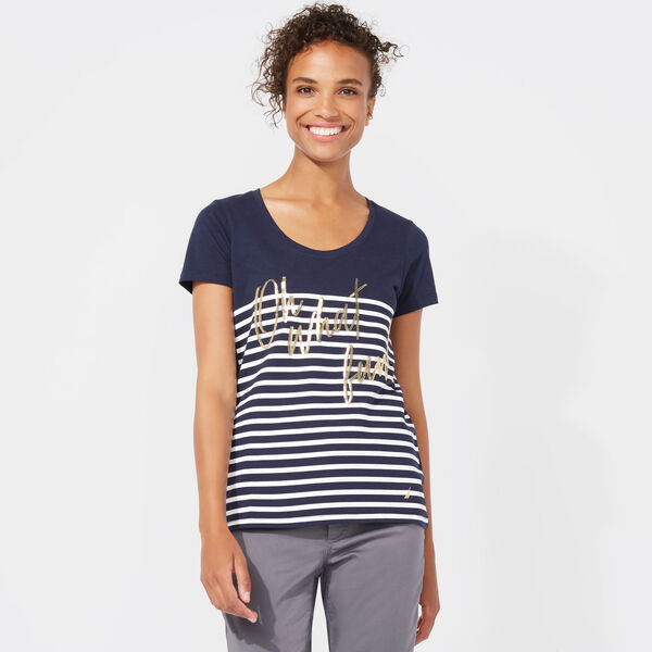 Stripe + Sequin Oh What Fun Scoop-Neck T-Shirt - Stellar Blue Heather