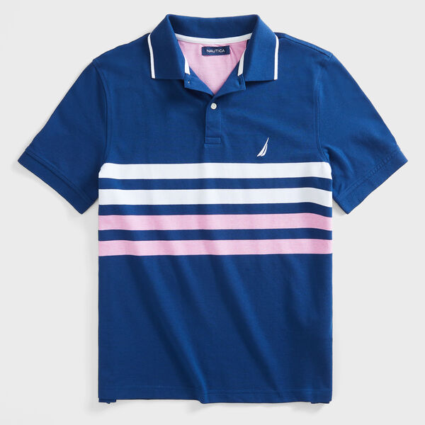CLASSIC FIT STRIPE OXFORD POLO - Estate Blue