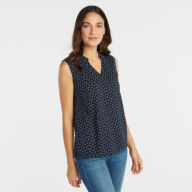 SLEEVELESS GEO FLORAL PRINT TOP,Stellar Blue Heather,large