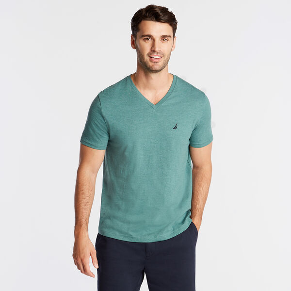SOLID V-NECK SLIM FIT TEE - Deep Fern Heather