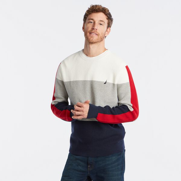 COLORBLOCK CREWNECK SWEATER - Marshmallow