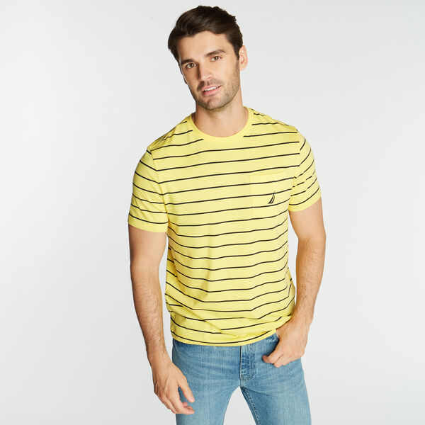 CLASSIC STRIPE CREWNECK POCKET T-SHIRT - Aspen Gold