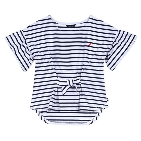 Little Girls' Tie Front Top in Breton Stripe (4-7) - Navy