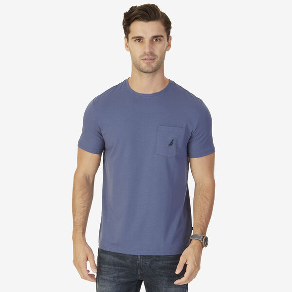 Short Sleeve Tee with Chest Pocket - Indigo Blue