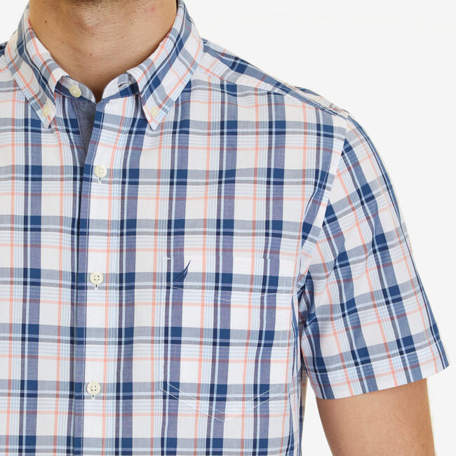 Big & Tall Plaid Classic Fit Button Down,Flame Red,large