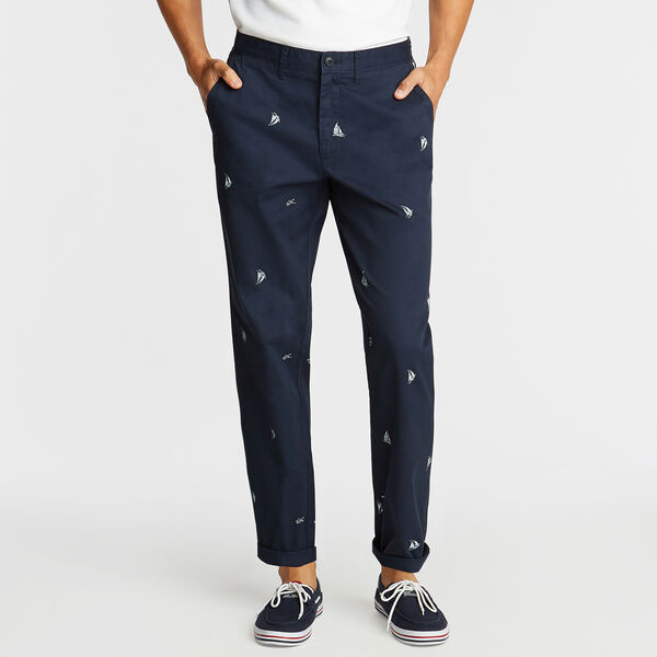 CLASSIC FIT TWILL PANT IN SAILBOAT PRINT - Navy