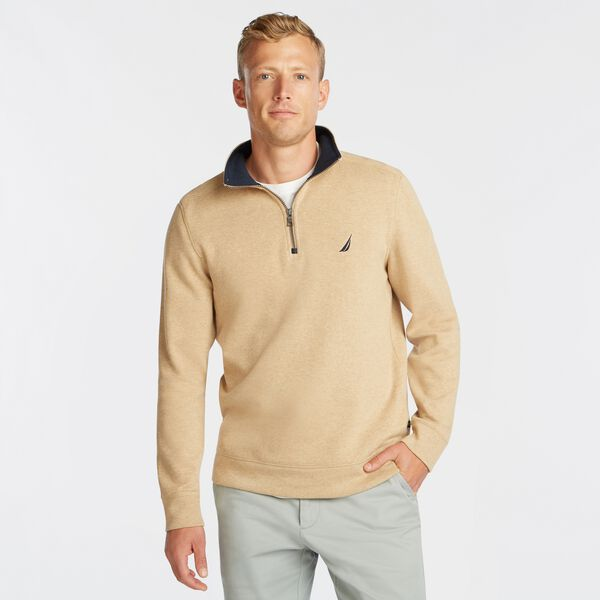 J-CLASS QUARTER-ZIP PULLOVER - Camel Heather