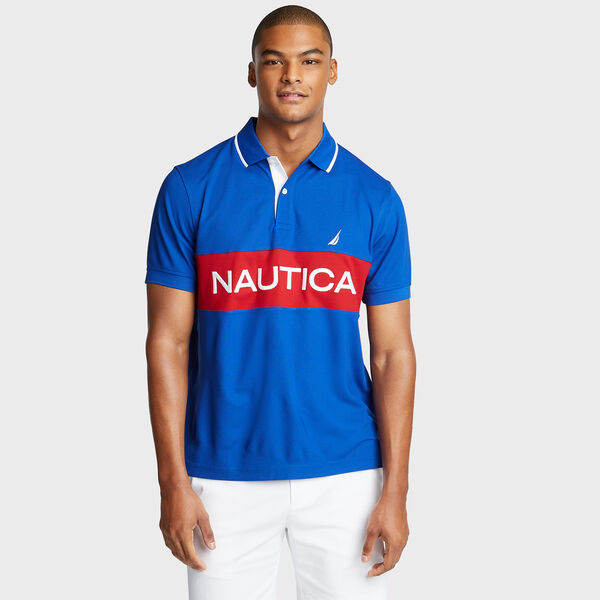 Classic Fit Colorblock Performance Polo - Bright Cobalt