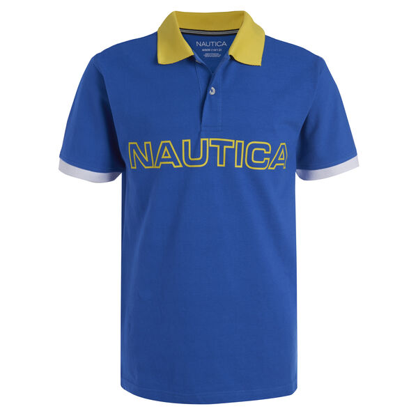 BOYS' RAY MULTICOLOR LOGO POLO (8-20) - True Navy