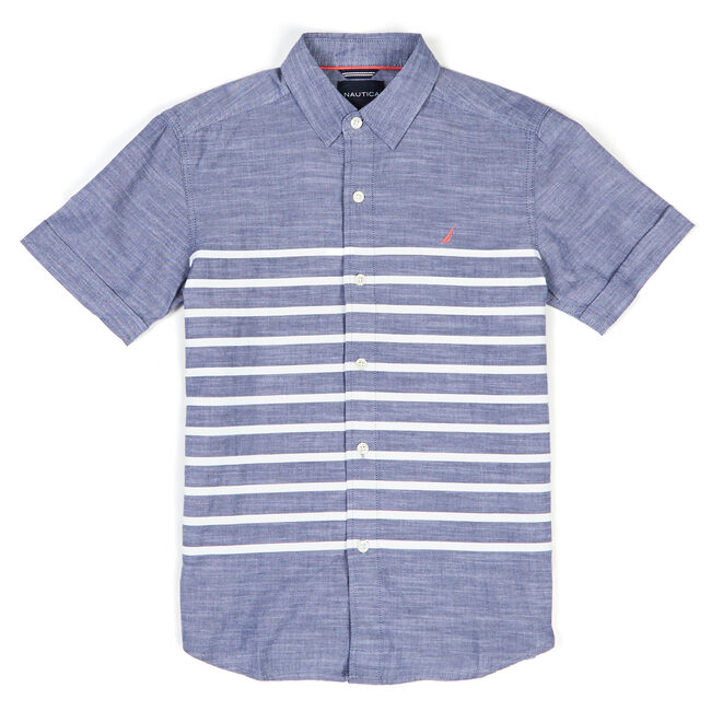 Little Boys' Striped Chambray Short Sleeve Button Down (4-7),Blue Mirage,large