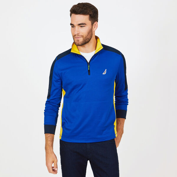 Long Sleeve Quarter-Zip Performance Polo - Bright Cobalt