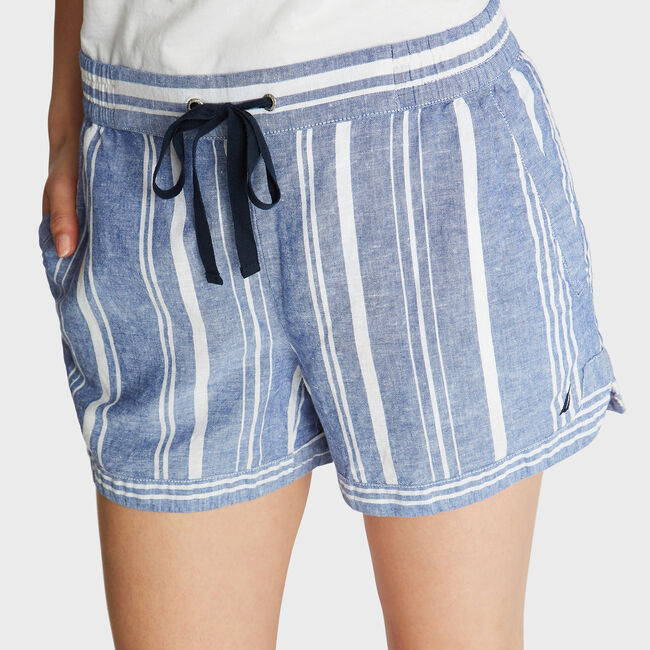 "4"" LINEN SHORTS IN VARIEGATED STRIPE,Deep Navy Heather,large"