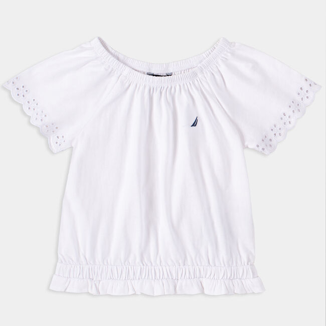 LITTLE GIRLS' EMBROIDERED TOP (4-7),Antique White Wash,large