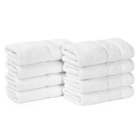 Belle Haven Hand Towel Set, 8-Piece - Bright White