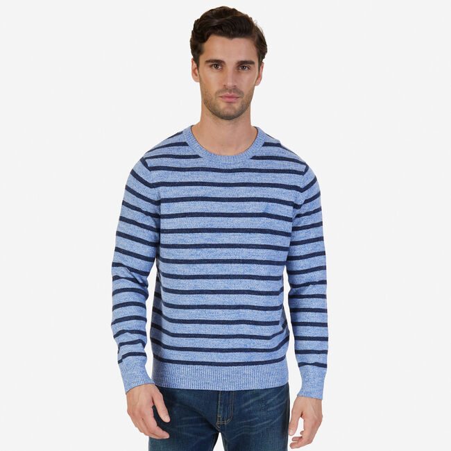 Snowy Striped Sweater,Clear Sky Blue,large
