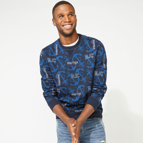 NAUTICA JEANS CO. ALL OVER PRINTED CREWNECK SWEATSHIRT - Navy