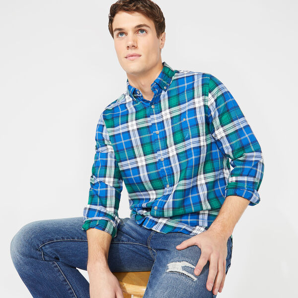 CLASSIC FIT LONG SLEEVE TWILL PLAID SHIRT - Clear Sky Blue