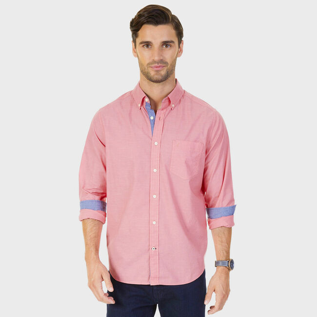 Stretch Poplin Button-Down Classic Fit Shirt,Dreamy Coral,large