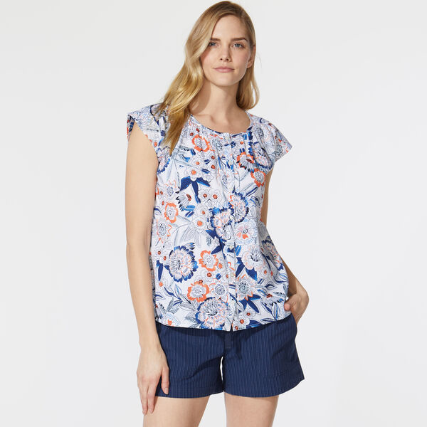 FLORAL PRINT BUTTON FRONT SHIRT - Bright White